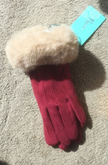 Lined Gloves With Faux Fur Trim - Wine